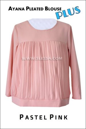 Blouse Plus Size Muslimah AYANA Pleated Pastel Pink